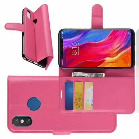 Флип чехол книжка с кошельком подставкой отделениями для карт и магнитной застежкой для Xiaomi Mi 8 Розовый