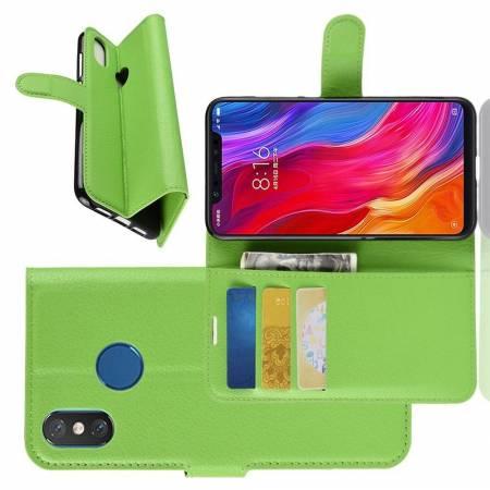 Флип чехол книжка с кошельком подставкой отделениями для карт и магнитной застежкой для Xiaomi Mi 8 Зеленый
