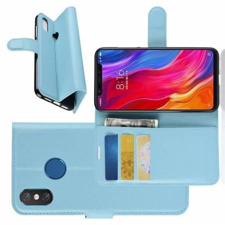 Флип чехол книжка с кошельком подставкой отделениями для карт и магнитной застежкой для Xiaomi Mi 8 Голубой