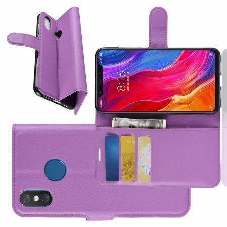 Флип чехол книжка с кошельком подставкой отделениями для карт и магнитной застежкой для Xiaomi Mi 8 Фиолетовый