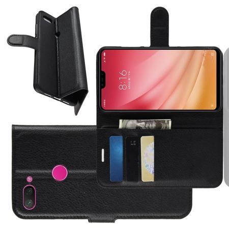 Флип чехол книжка с кошельком подставкой отделениями для карт и магнитной застежкой для Xiaomi Mi 8 Lite Черный