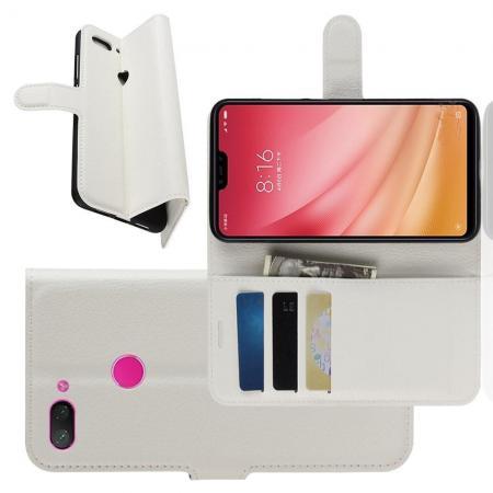 Флип чехол книжка с кошельком подставкой отделениями для карт и магнитной застежкой для Xiaomi Mi 8 Lite Белый
