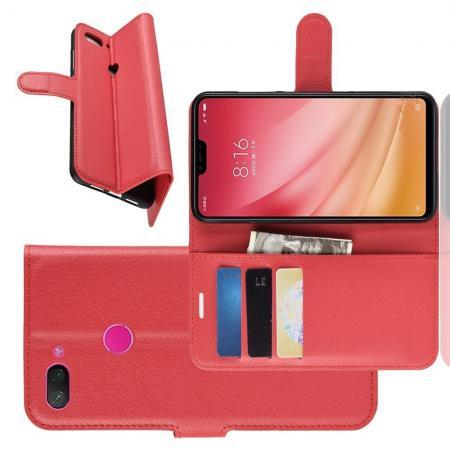 Флип чехол книжка с кошельком подставкой отделениями для карт и магнитной застежкой для Xiaomi Mi 8 Lite Красный