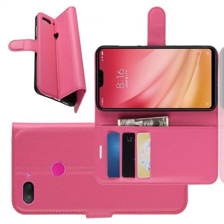 Флип чехол книжка с кошельком подставкой отделениями для карт и магнитной застежкой для Xiaomi Mi 8 Lite Розовый