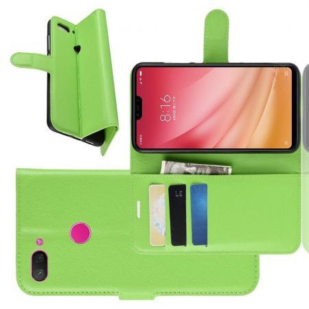 Флип чехол книжка с кошельком подставкой отделениями для карт и магнитной застежкой для Xiaomi Mi 8 Lite Зеленый