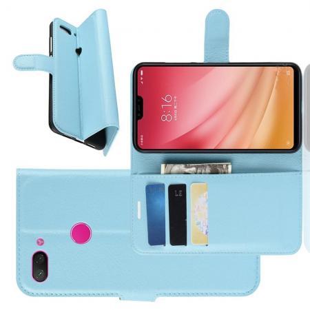Флип чехол книжка с кошельком подставкой отделениями для карт и магнитной застежкой для Xiaomi Mi 8 Lite Голубой
