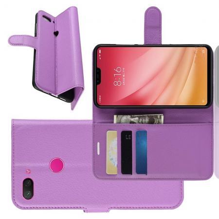 Флип чехол книжка с кошельком подставкой отделениями для карт и магнитной застежкой для Xiaomi Mi 8 Lite Фиолетовый