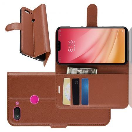 Флип чехол книжка с кошельком подставкой отделениями для карт и магнитной застежкой для Xiaomi Mi 8 Lite Коричневый