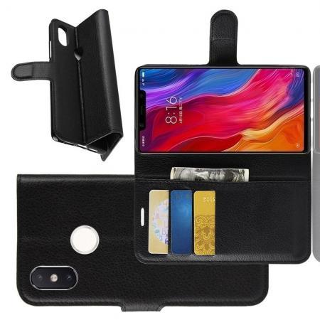Флип чехол книжка с кошельком подставкой отделениями для карт и магнитной застежкой для Xiaomi Mi 8 SE Черный