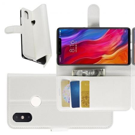 Флип чехол книжка с кошельком подставкой отделениями для карт и магнитной застежкой для Xiaomi Mi 8 SE Белый