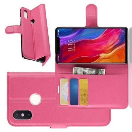 Флип чехол книжка с кошельком подставкой отделениями для карт и магнитной застежкой для Xiaomi Mi 8 SE Розовый
