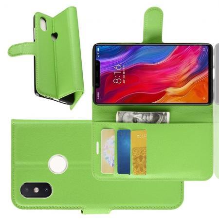 Флип чехол книжка с кошельком подставкой отделениями для карт и магнитной застежкой для Xiaomi Mi 8 SE Зеленый