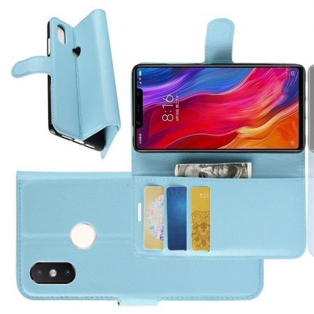 Флип чехол книжка с кошельком подставкой отделениями для карт и магнитной застежкой для Xiaomi Mi 8 SE Голубой