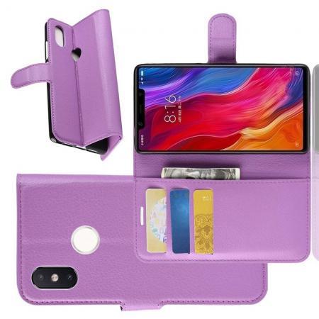 Флип чехол книжка с кошельком подставкой отделениями для карт и магнитной застежкой для Xiaomi Mi 8 SE Фиолетовый