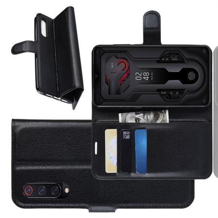 Флип чехол книжка с кошельком подставкой отделениями для карт и магнитной застежкой для Xiaomi Mi 9 Черный
