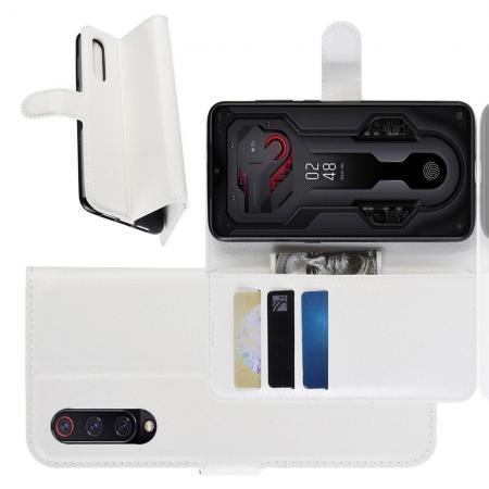 Флип чехол книжка с кошельком подставкой отделениями для карт и магнитной застежкой для Xiaomi Mi 9 Белый