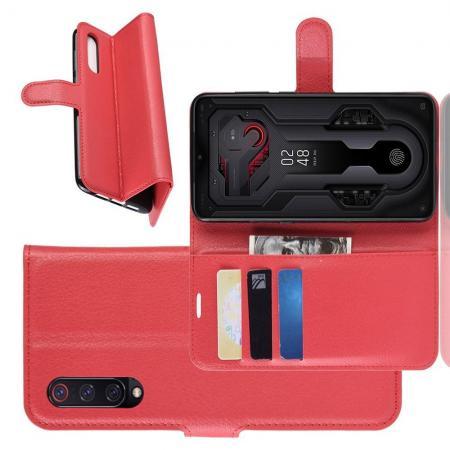Флип чехол книжка с кошельком подставкой отделениями для карт и магнитной застежкой для Xiaomi Mi 9 Красный