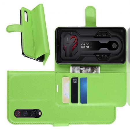 Флип чехол книжка с кошельком подставкой отделениями для карт и магнитной застежкой для Xiaomi Mi 9 Зеленый