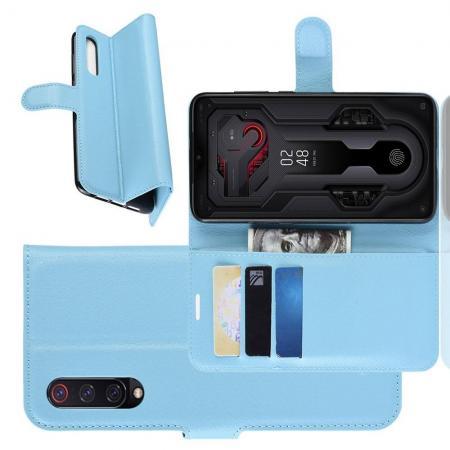 Флип чехол книжка с кошельком подставкой отделениями для карт и магнитной застежкой для Xiaomi Mi 9 Голубой