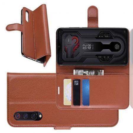 Флип чехол книжка с кошельком подставкой отделениями для карт и магнитной застежкой для Xiaomi Mi 9 Коричневый