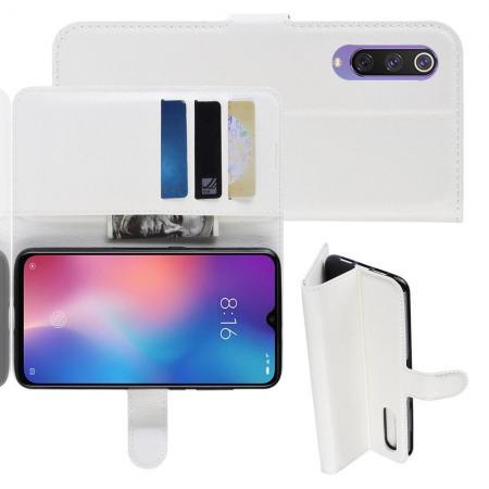 Флип чехол книжка с кошельком подставкой отделениями для карт и магнитной застежкой для Xiaomi Mi 9 SE Белый