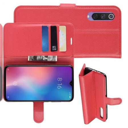 Флип чехол книжка с кошельком подставкой отделениями для карт и магнитной застежкой для Xiaomi Mi 9 SE Красный