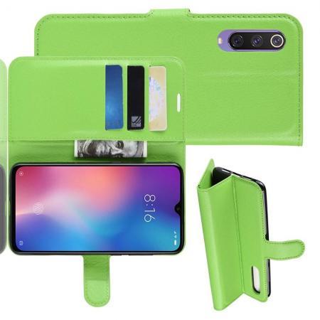 Флип чехол книжка с кошельком подставкой отделениями для карт и магнитной застежкой для Xiaomi Mi 9 SE Зеленый