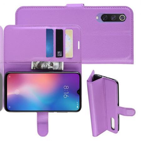 Флип чехол книжка с кошельком подставкой отделениями для карт и магнитной застежкой для Xiaomi Mi 9 SE Фиолетовый
