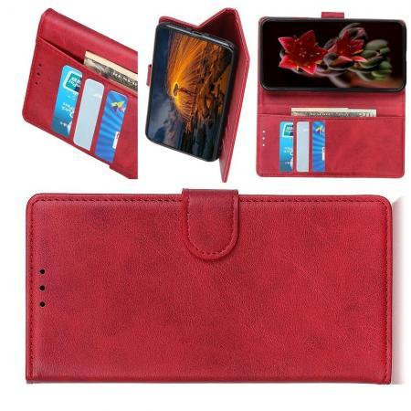 Флип чехол книжка с кошельком подставкой отделениями для карт и магнитной застежкой для Xiaomi Mi A3 Красный