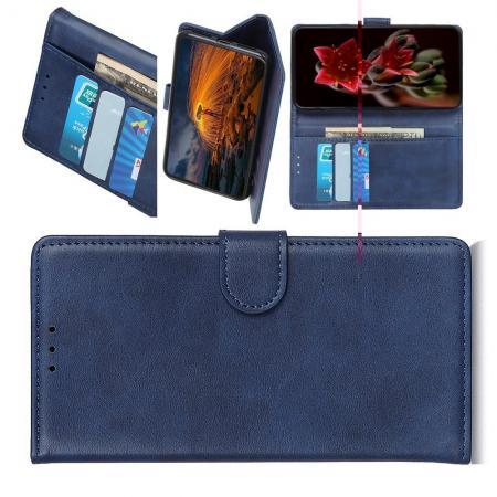 Флип чехол книжка с кошельком подставкой отделениями для карт и магнитной застежкой для Xiaomi Mi A3 Синий