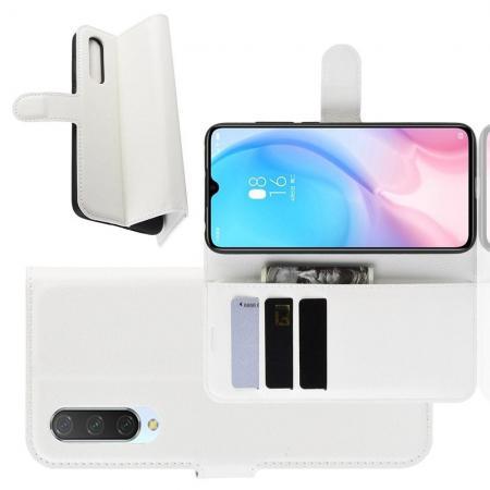 Флип чехол книжка с кошельком подставкой отделениями для карт и магнитной застежкой для Xiaomi Mi 9 Lite Белый