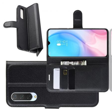 Флип чехол книжка с кошельком подставкой отделениями для карт и магнитной застежкой для Xiaomi Mi CC9 Черный