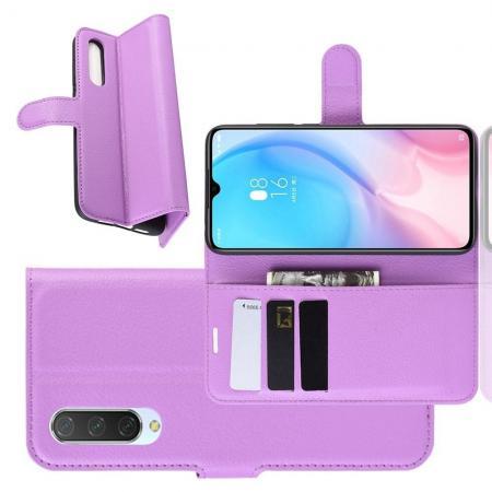 Флип чехол книжка с кошельком подставкой отделениями для карт и магнитной застежкой для Xiaomi Mi 9 Lite Фиолетовый