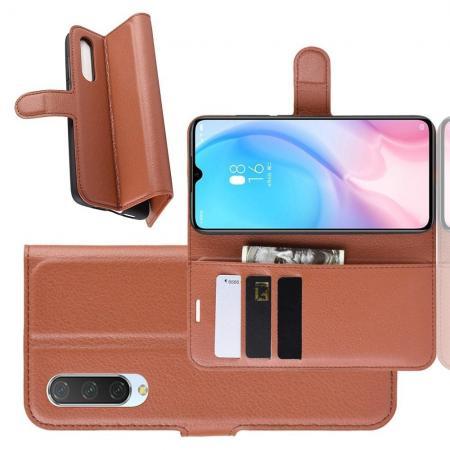 Флип чехол книжка с кошельком подставкой отделениями для карт и магнитной застежкой для Xiaomi Mi 9 Lite Коричневый