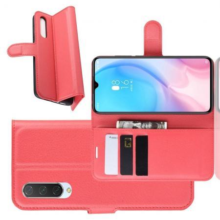Флип чехол книжка с кошельком подставкой отделениями для карт и магнитной застежкой для Xiaomi Mi 9 Lite Красный