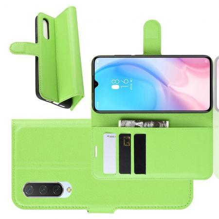 Флип чехол книжка с кошельком подставкой отделениями для карт и магнитной застежкой для Xiaomi Mi 9 Lite Зеленый