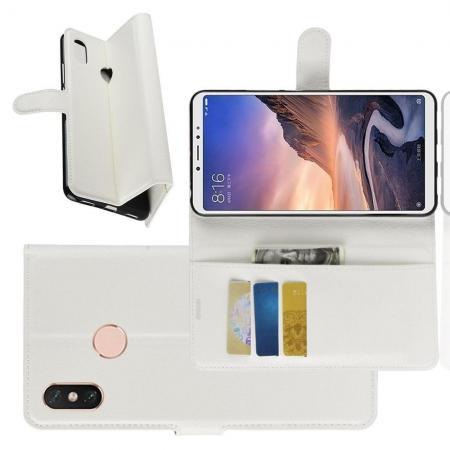 Флип чехол книжка с кошельком подставкой отделениями для карт и магнитной застежкой для Xiaomi Mi Max 3 Белый