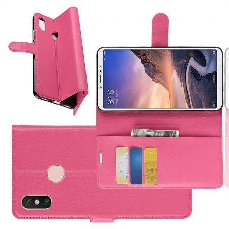 Флип чехол книжка с кошельком подставкой отделениями для карт и магнитной застежкой для Xiaomi Mi Max 3 Розовый