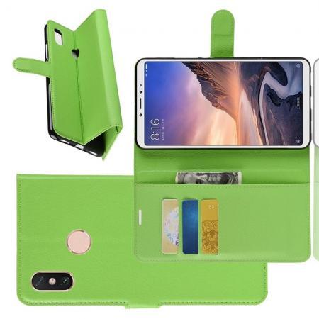 Флип чехол книжка с кошельком подставкой отделениями для карт и магнитной застежкой для Xiaomi Mi Max 3 Зеленый