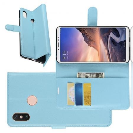 Флип чехол книжка с кошельком подставкой отделениями для карт и магнитной застежкой для Xiaomi Mi Max 3 Голубой
