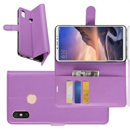 Флип чехол книжка с кошельком подставкой отделениями для карт и магнитной застежкой для Xiaomi Mi Max 3 Фиолетовый