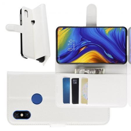 Флип чехол книжка с кошельком подставкой отделениями для карт и магнитной застежкой для Xiaomi Mi Mix 3 Белый