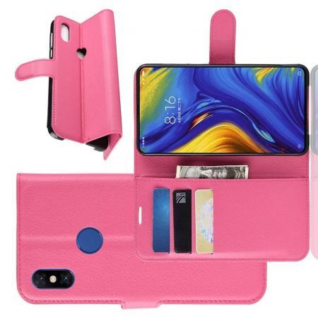 Флип чехол книжка с кошельком подставкой отделениями для карт и магнитной застежкой для Xiaomi Mi Mix 3 Розовый