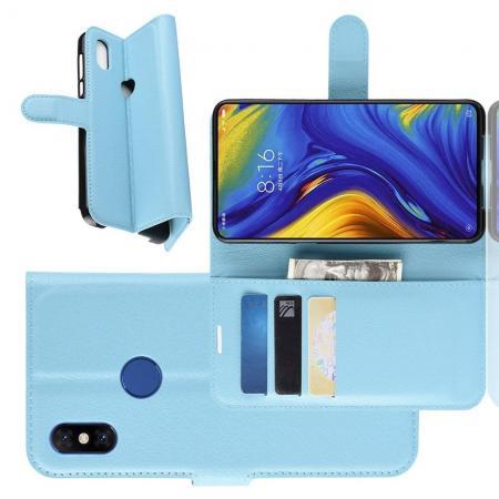 Флип чехол книжка с кошельком подставкой отделениями для карт и магнитной застежкой для Xiaomi Mi Mix 3 Голубой