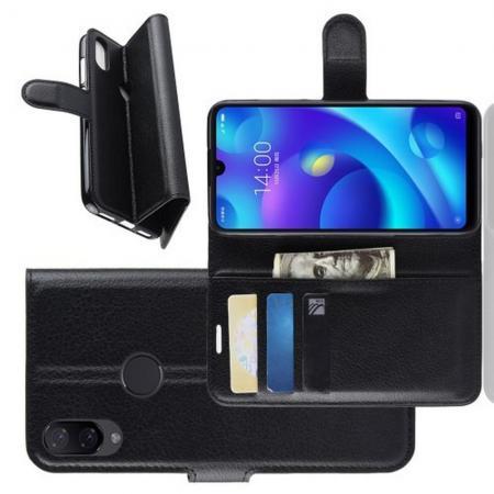 Флип чехол книжка с кошельком подставкой отделениями для карт и магнитной застежкой для Xiaomi Mi Play Черный