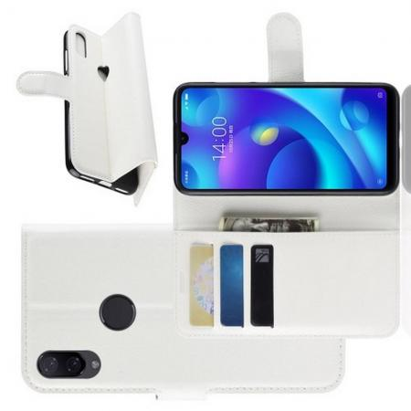 Флип чехол книжка с кошельком подставкой отделениями для карт и магнитной застежкой для Xiaomi Mi Play Белый