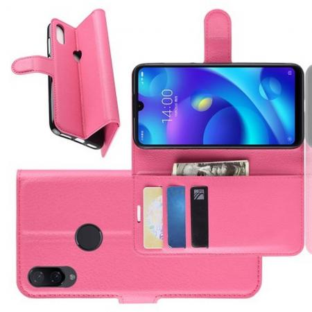 Флип чехол книжка с кошельком подставкой отделениями для карт и магнитной застежкой для Xiaomi Mi Play Розовый
