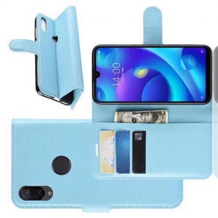 Флип чехол книжка с кошельком подставкой отделениями для карт и магнитной застежкой для Xiaomi Mi Play Голубой