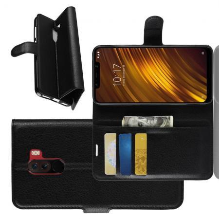 Флип чехол книжка с кошельком подставкой отделениями для карт и магнитной застежкой для Xiaomi Pocophone F1 Черный
