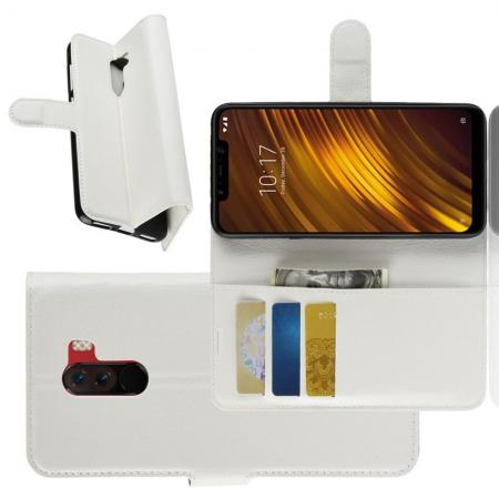Флип чехол книжка с кошельком подставкой отделениями для карт и магнитной застежкой для Xiaomi Pocophone F1 Белый